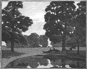 pointillist wood-engraving of Elms by a Pond